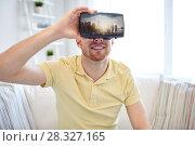 Купить «man in virtual reality headset or 3d glasses», фото № 28327165, снято 12 марта 2016 г. (c) Syda Productions / Фотобанк Лори