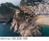 Купить «Aerial view of Tossa de Mar, Spain», фото № 28328189, снято 21 января 2018 г. (c) Яков Филимонов / Фотобанк Лори