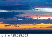 Купить «Colourful sunset with clouds and sunbeams», фото № 28328353, снято 9 февраля 2016 г. (c) Яков Филимонов / Фотобанк Лори