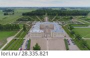 Купить «Castle park Rundale in Latvia drone flight above trees, summer time», видеоролик № 28335821, снято 24 апреля 2018 г. (c) Aleksejs Bergmanis / Фотобанк Лори