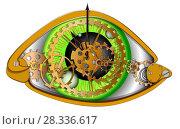Купить «Глаз человека в виде механических часов, векторная иллюстрация на белом фоне», иллюстрация № 28336617 (c) Рожков Юрий / Фотобанк Лори