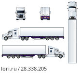 Купить «Semi truck template isolated on white», иллюстрация № 28338205 (c) Александр Володин / Фотобанк Лори