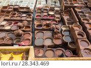 Купить «Tanneries of Fes, Morocco, Africa», фото № 28343469, снято 16 февраля 2018 г. (c) Михаил Коханчиков / Фотобанк Лори