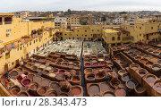 Купить «Tanneries in Fes, Morocco, Africa», фото № 28343473, снято 16 февраля 2018 г. (c) Михаил Коханчиков / Фотобанк Лори