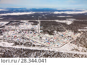 Купить «Vyngapurovsky is oilman's village in West Siberia, bird's eye view», фото № 28344041, снято 22 марта 2017 г. (c) Владимир Мельников / Фотобанк Лори