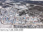 Купить «Vyngapurovsky is oilman's village in West Siberia, bird's eye view», фото № 28344049, снято 22 марта 2017 г. (c) Владимир Мельников / Фотобанк Лори
