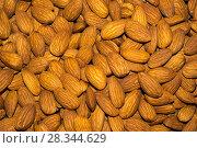 Купить «Background - peeled almond kernels closeup», фото № 28344629, снято 26 апреля 2018 г. (c) Евгений Харитонов / Фотобанк Лори
