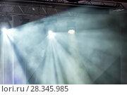Купить «Stage lights. Soffits. Concert light», фото № 28345985, снято 29 февраля 2020 г. (c) Евгений Ткачёв / Фотобанк Лори