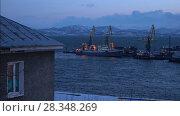 Купить «Вечерний вид на Петропавловск-Камчатский морской торговый порт», видеоролик № 28348269, снято 29 апреля 2018 г. (c) А. А. Пирагис / Фотобанк Лори