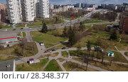 Купить «Moscow, Russia - April 29. 2018. General view of Zelenograd and Kryukovskaya overpass», видеоролик № 28348377, снято 29 апреля 2018 г. (c) Володина Ольга / Фотобанк Лори