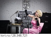 Купить «Actress in the style of Hollywood retro films», фото № 28348721, снято 15 февраля 2018 г. (c) Дмитрий Черевко / Фотобанк Лори