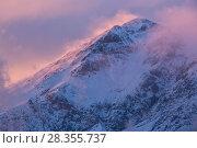 Купить «Winter sunset on Mount Velino in the Sirente-Velino Regional Park. Abruzzo, Central Apennines, Italy.», фото № 28355737, снято 23 мая 2018 г. (c) Nature Picture Library / Фотобанк Лори
