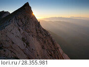 Купить «Last rays of sun on northern slope of Mount Camicia in the Gran Sasso Massif. Gran Sasso National Park, Central Apennines, Abruzzo, Italy, August.», фото № 28355981, снято 23 мая 2018 г. (c) Nature Picture Library / Фотобанк Лори