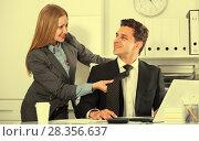Купить «Sexual harassment between colleagues», фото № 28356637, снято 20 апреля 2017 г. (c) Яков Филимонов / Фотобанк Лори