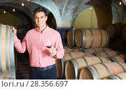 Купить «Man posing in winery cellar», фото № 28356697, снято 21 сентября 2016 г. (c) Яков Филимонов / Фотобанк Лори