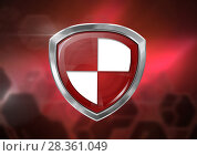 Купить «Antivirus security protection shield icon and red blurred background», фото № 28361049, снято 25 февраля 2020 г. (c) Wavebreak Media / Фотобанк Лори