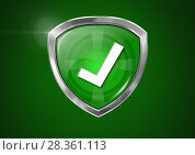 Купить «Correct tick security protection shield and green background», фото № 28361113, снято 3 июля 2020 г. (c) Wavebreak Media / Фотобанк Лори