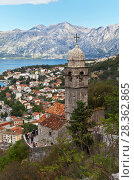 Montenegro. Kotor. Tourists visiting to a beautiful 15th-century Church of Our Lady of Remedy (Crkva Gospa od Zdravlja) and photographing the old town of Kotor (2016 год). Редакционное фото, фотограф Виктория Катьянова / Фотобанк Лори