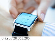 Купить «close up of smart watch with social media icons», фото № 28363285, снято 13 августа 2015 г. (c) Syda Productions / Фотобанк Лори