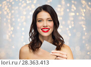 Купить «beautiful woman with red lipstick and credit card», фото № 28363413, снято 5 января 2018 г. (c) Syda Productions / Фотобанк Лори