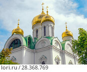 Domes and belfry of the Christian Orthodox Church of St. Catherine in Pushkin, St. Petersburg, Russia. Стоковое фото, фотограф Николай Лемешев / Фотобанк Лори