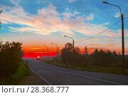 Купить «Пейзаж: шоссе в сумерках на рассвете», фото № 28368777, снято 14 октября 2018 г. (c) Николай Лемешев / Фотобанк Лори