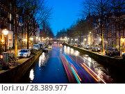 Купить «Amsterdam, Leidsegracht Canal at Night», фото № 28389977, снято 13 апреля 2018 г. (c) Fausto Renda / Фотобанк Лори