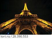 Купить «Эйфелева башня с ночной подсветкой. Париж, Франция», эксклюзивное фото № 28390553, снято 17 октября 2018 г. (c) Сергей Цепек / Фотобанк Лори
