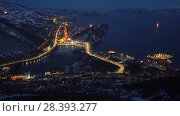Купить «Ночной вид сверху на город Петропавловск-Камчатский (таймлапс)», видеоролик № 28393277, снято 9 мая 2018 г. (c) А. А. Пирагис / Фотобанк Лори