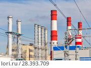 Купить «Трубы ТЭЦ на фоне голубого неба», фото № 28393709, снято 28 апреля 2018 г. (c) Александр Гаценко / Фотобанк Лори