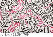 Купить «Days of the week and calendar numbers cut from paper are mixed», фото № 28394769, снято 10 мая 2018 г. (c) Элина Гаревская / Фотобанк Лори