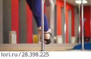 Купить «Beautiful legs of woman in black high-heeled shoes dancing on a pole in a studio», видеоролик № 28398225, снято 18 августа 2019 г. (c) Константин Шишкин / Фотобанк Лори