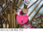 """Купить «Свадьба. Замок с надписью """"Совет да любовь""""», эксклюзивное фото № 28402153, снято 29 апреля 2018 г. (c) Литвяк Игорь / Фотобанк Лори"""