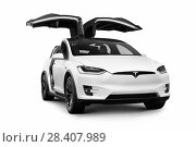 Купить «White 2018 Tesla Model X luxury SUV electric car with open falcon wing doors isolated on white background with clipping path.», фото № 28407989, снято 28 марта 2018 г. (c) age Fotostock / Фотобанк Лори