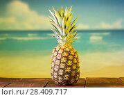 Купить «Large ripe pineapple with peel and leaves on background of sea», фото № 28409717, снято 22 декабря 2017 г. (c) Сергей Молодиков / Фотобанк Лори