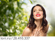 Купить «beautiful smiling young woman with red lipstick», фото № 28410337, снято 5 января 2018 г. (c) Syda Productions / Фотобанк Лори
