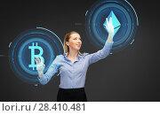 Купить «businesswoman with cryptocurrency holograms», фото № 28410481, снято 17 ноября 2012 г. (c) Syda Productions / Фотобанк Лори