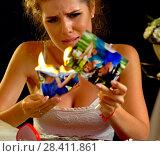 Купить «Wedding memories. Broken heart woman. Family break up.», фото № 28411861, снято 21 июля 2018 г. (c) Gennadiy Poznyakov / Фотобанк Лори