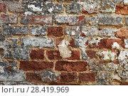 Купить «Red old brick wall background», фото № 28419969, снято 1 мая 2018 г. (c) Александр Лычагин / Фотобанк Лори
