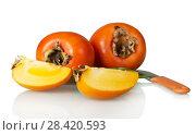 Купить «Fruit of persimmon, cut pieces and knife isolated on white», фото № 28420593, снято 20 декабря 2017 г. (c) Сергей Молодиков / Фотобанк Лори
