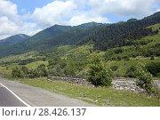 Купить «Дорога через Грузию летом», эксклюзивное фото № 28426137, снято 15 июля 2017 г. (c) Алексей Гусев / Фотобанк Лори