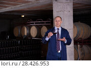 Купить «Sommelier tasting red wines in winery basement», фото № 28426953, снято 22 января 2018 г. (c) Яков Филимонов / Фотобанк Лори