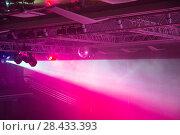 Купить «Stage lights. Soffits. Concert light», фото № 28433393, снято 29 февраля 2020 г. (c) Евгений Ткачёв / Фотобанк Лори
