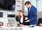 Купить «Dissatisfied manager scolding frustrated salesgirl at workplace in furniture salon», фото № 28440489, снято 9 апреля 2018 г. (c) Яков Филимонов / Фотобанк Лори