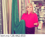 Купить «Positive mature woman seller showing curtain in the curtains shop», фото № 28442653, снято 17 января 2018 г. (c) Яков Филимонов / Фотобанк Лори