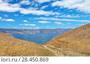Купить «Siberian Lake Baikal on sunny day. View from the Olkhon Island to the Maloye More Strait», фото № 28450869, снято 19 мая 2018 г. (c) Виктория Катьянова / Фотобанк Лори