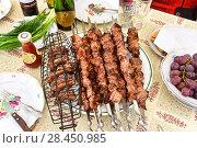 Купить «Шашлык на столе», эксклюзивное фото № 28450985, снято 12 мая 2018 г. (c) Юрий Морозов / Фотобанк Лори