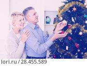 Купить «Mature glad couple decorate fir-tree for holidays of Christmas and New Year», фото № 28455589, снято 19 марта 2019 г. (c) Яков Филимонов / Фотобанк Лори