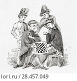 Playing draughts in the Middle Ages. From Old England: A Pictorial Museum, published 1847. Редакционное фото, фотограф Classic Vision / age Fotostock / Фотобанк Лори