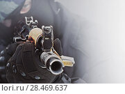 Купить «Policemen holding a weapon and aiming», фото № 28469637, снято 24 сентября 2015 г. (c) Александр Сергеевич / Фотобанк Лори